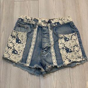 Carmar lace denim shorts
